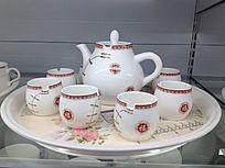 福字印花茶具