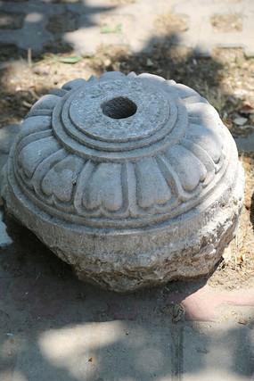 花纹图案古代旗杆石基座