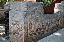 石雕麒麟图案古代下马石