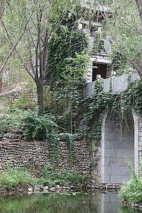 园林景观小桥和石房子