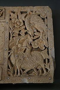 古代麒麟凤鸟图案石刻