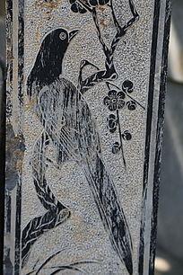 梅花喜鹊图案石刻