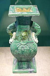 辽代绿釉方形陶瓶