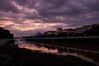 道县的晚霞和云彩和河流