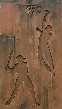 棒球和篮球运动图案石刻