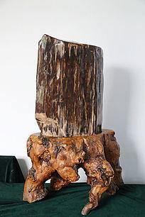 褐色树化石奇石