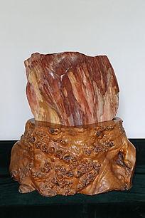 红色树化石奇石
