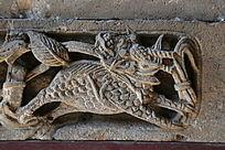 古代奔跑麒麟图案石刻