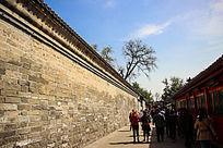 老北京砖墙砖游客街景图片