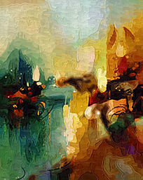 流行抽象油画高清图片