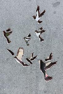 墙壁镂空飞鸟图案