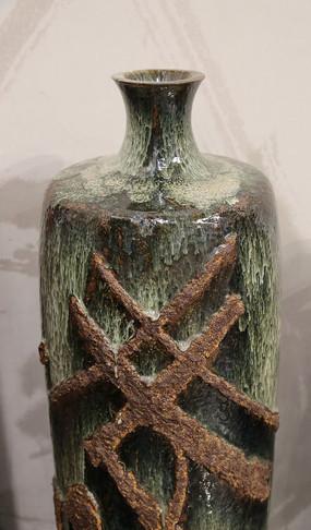 手工制品陶瓷绿色小口瓶