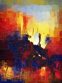 现代抽象油画无框画