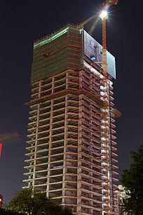 建筑工地施工现场夜景