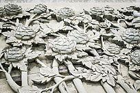 牡丹花丛浮雕