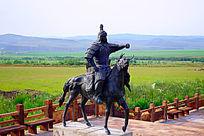 古代蒙古骑兵雕塑