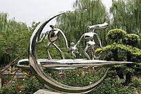 不锈钢雕塑幸福的一家三口