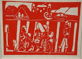 剪纸红色文明过马路
