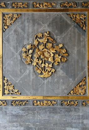 牡丹圖案磚雕墻面