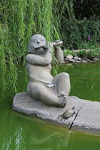 石雕吹笛子放牛娃和乌龟