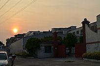 日落黄昏建筑风景图片