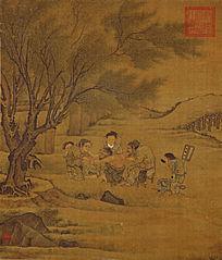 李唐《炙艾图》 绢本 古代名画