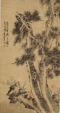 清李鱓《松石牡丹图》高清国画