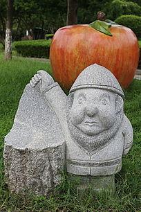 石雕卡通小人