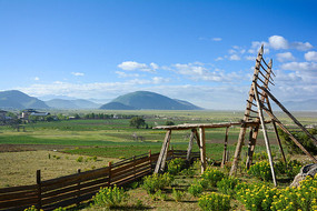 草原围栏桅杆风景