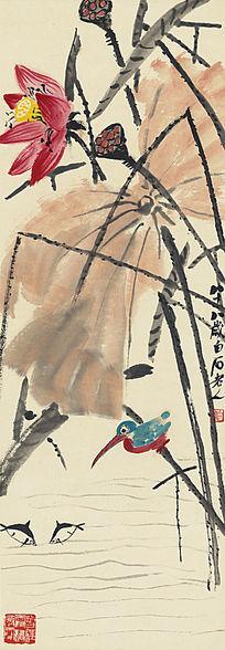 齐白石,《荷花翠鸟图》高清国画