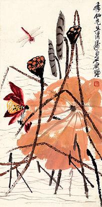 齐白石《蜻蜓荷花》高清国画