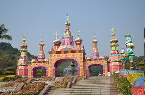 英伦风情卡通城堡公园风景图片