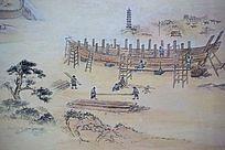 古代造船人物画