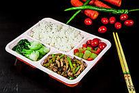 瘦肉蔬菜盒饭