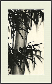 国画竹子 水墨画 黑白装饰画