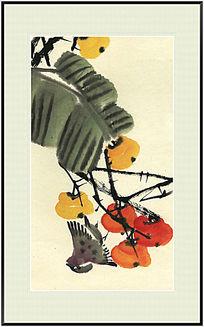 柿子 国画 中式风格