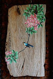 木板花鸟工笔画