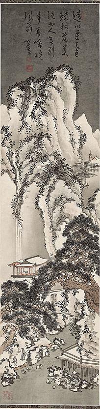 傅儒《远水疏林图》高清国画