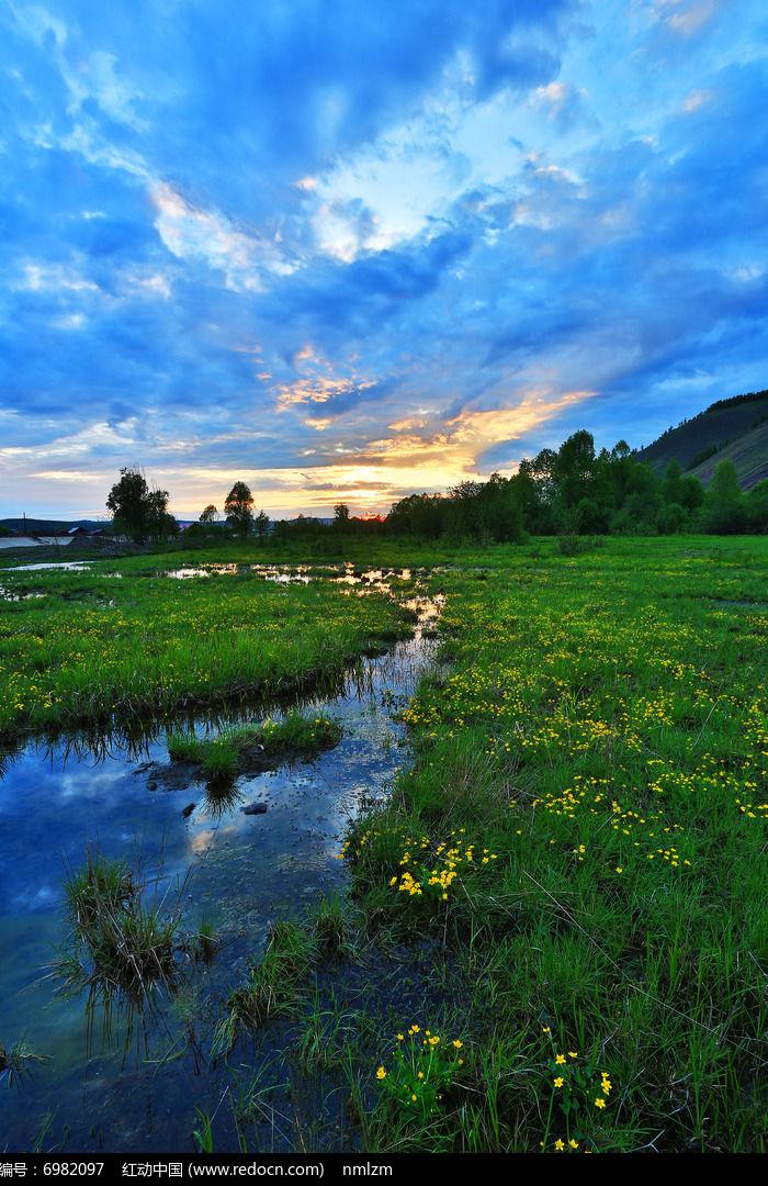 湿地沼泽暮色图片