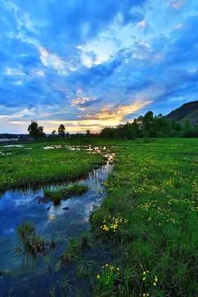 湿地沼泽暮色