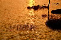 被日落染红的江面风光图片