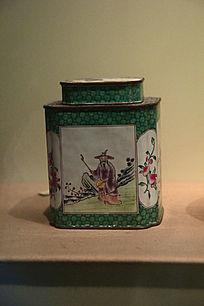 彩绘铁茶盒