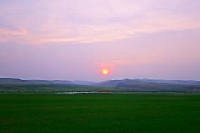 麦田夕阳落日风景