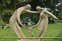 幸福的一家三口雕像图片