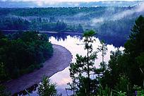 森林河晨雾