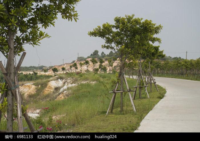 露天矿蜿蜒盘旋的沿湖公路车道图片