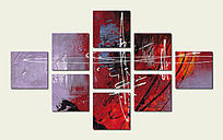 现代装饰画 抽象画 套画 组合画 色块抽象 抽象装饰画
