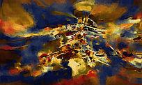 电视背景墙 玄关壁画 油画抽象