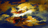 复古抽象油画 抽象风景画