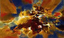 现代简约风格抽象油画壁画